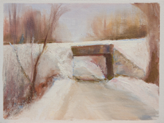 B.I.Woods bridge, snowy 6x8