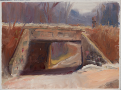 B.I.Woods bridge, summer w person 6x8